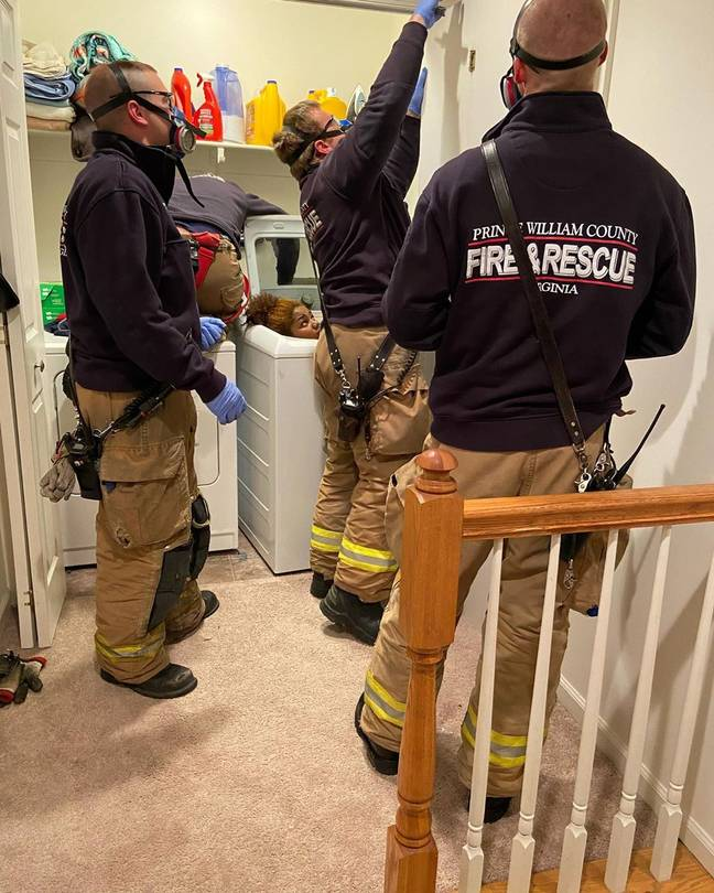 Firefighters Attend Call After Woman Got Stuck In Washing Machine Playing Hide-And-Seek
